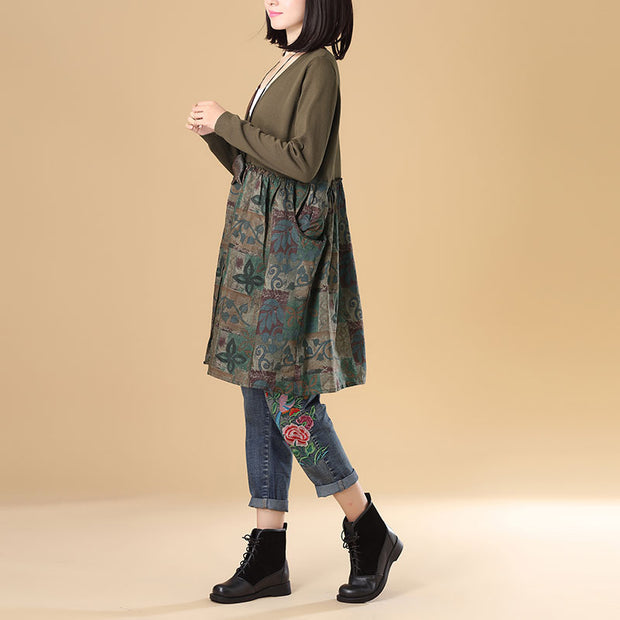 Autumn Women Single Breasted Long Sleeve Printing Sweater Dress - Buykud