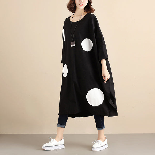 Literature Round Neck Long Sleeves Applique Strap Black Women Dress - Buykud