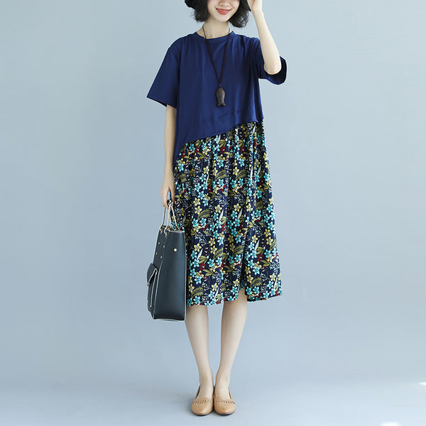 Splicing Floral Printed Round Neck Short Sleeve Cotton Dress - Buykud
