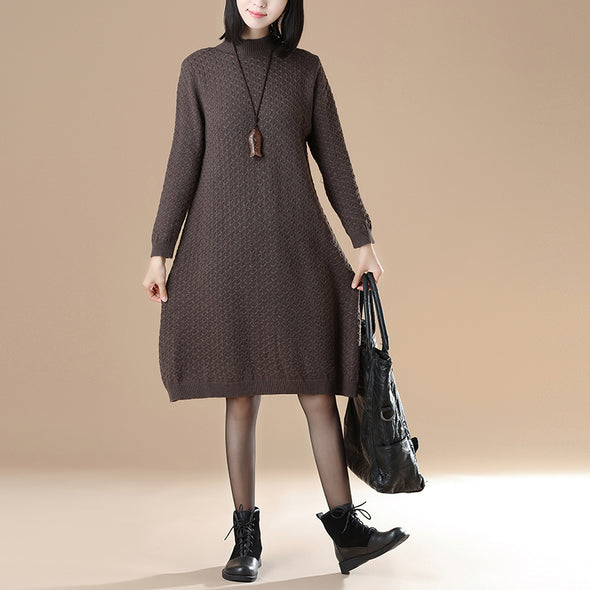 Mock Neck Long Sleeve Rib-Knit Jacquard Coffee Sweater Dress - Buykud