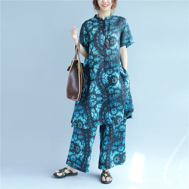 Casual Printing Linen Women Blue Suits(Shirt+Pants) - Buykud