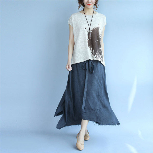 Printing Women Loose Casual Linen Summer Beige Shirt - Buykud