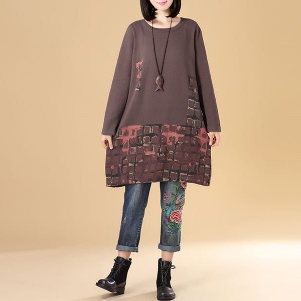 Autumn Women Round Neck Long Sleeve Coffee Knitted Printing Sweater - Buykud