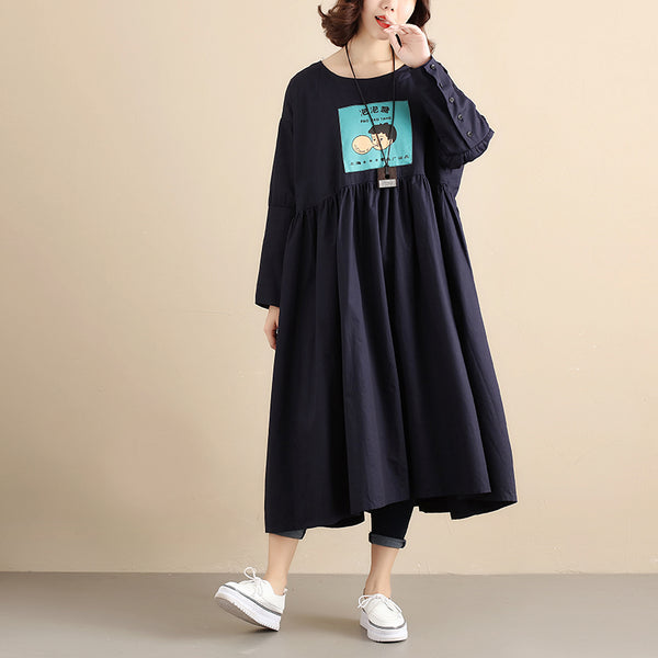 Literature Chic Printing Long Sleeves Splicing PLeated Women Navy Blue Dress - Buykud