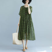 Loose Short Sleeve Printed Round Neck Green Dress - Buykud