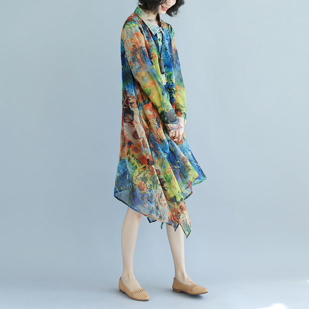 Long Sleeve Polo Collar Printed Retro Pullover Dress - Buykud