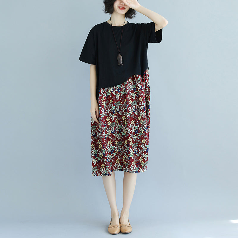 Splicing Floral Printed Round Neck Short Sleeve Dress - Buykud
