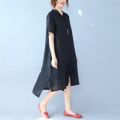 Retro Ethnic Jacquard Button Irregular Short Sleeves Black Dress - Buykud