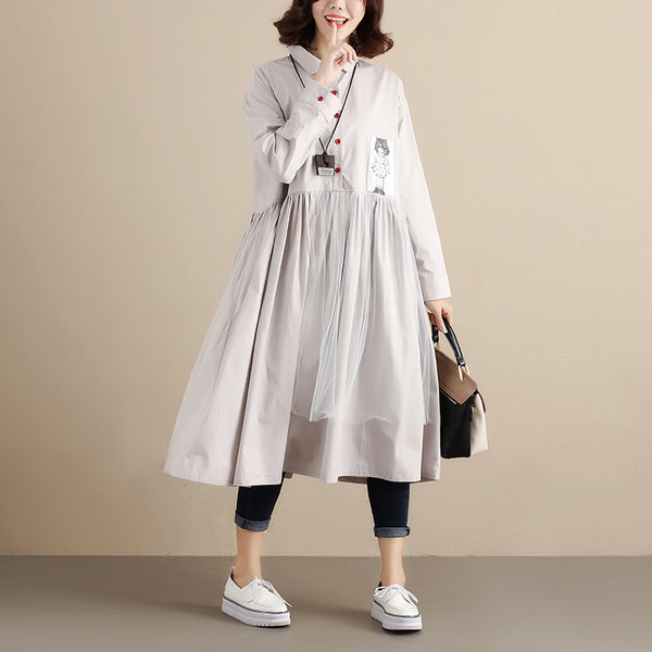 Fashionable Design Chic Applique Long Sleeves Women Gray Dress