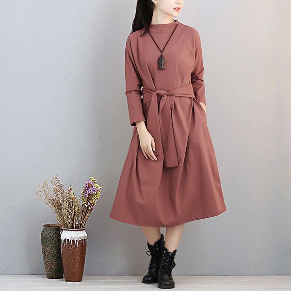 Fashionable Stand Collar Long Sleeve Women Exposed Navel Wine Red Dress - Buykud