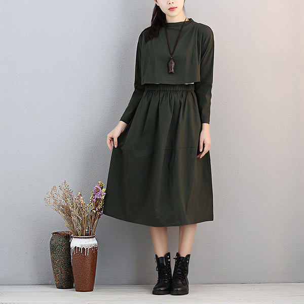 Fashionable Stand Collar Long Sleeve Women Exposed Navel Green Dress - Buykud