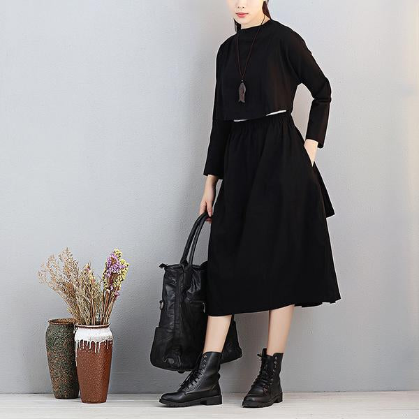 Fashionable Stand Collar Long Sleeve Women Exposed Navel Dress