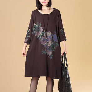 Women Round Neck Three Quarter Sleeve Dark Coffee Sweater Dress - Buykud