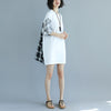 Round Neck Lantern Sleeve Splicing White Short Dress - Buykud