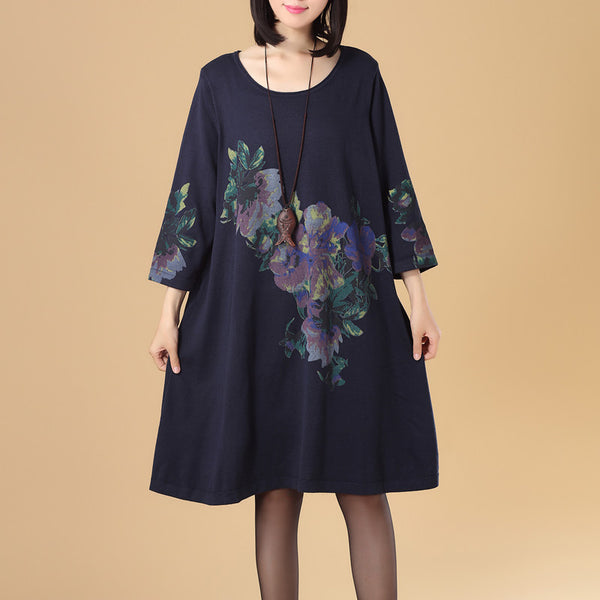 Women Round Neck Three Quarter Sleeve Printing Navy Blue Knitted Sweater Dress - Buykud