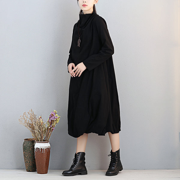 Fashion Women Turtleneck Long Sleeve Black Lantern Dress - Buykud