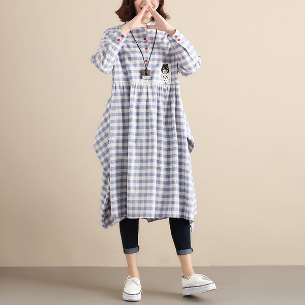 Literature Women Chic Applique Splicing Pleated Blue and White Lattice Women Dress - Buykud