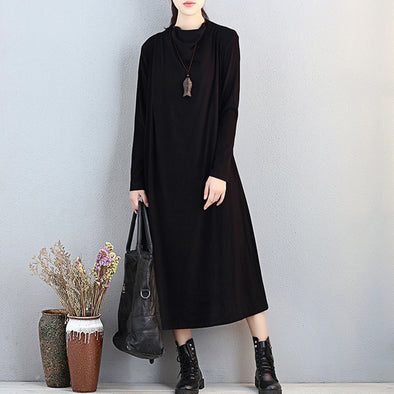 Separable Two Pieces Women Turtleneck Long Sleeve Black Blouse Dress - Buykud
