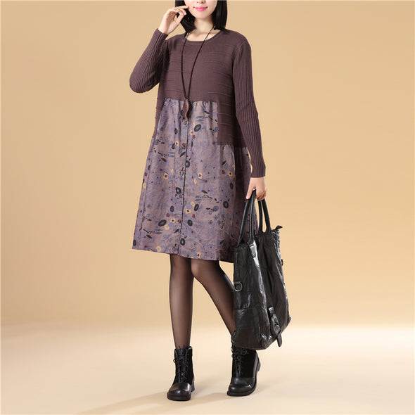 Women Autumn Patchwork Printing Purple Knitted Sweater Dress - Buykud