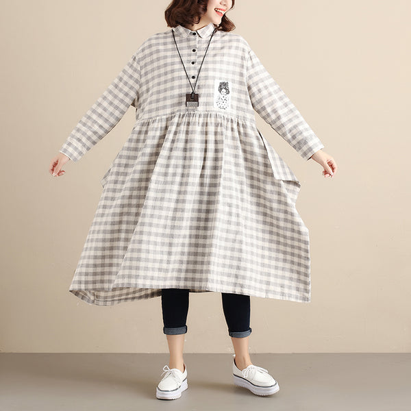 Literature Women Applique Splicing Pleated Gray and White Lattice Women Dress - Buykud