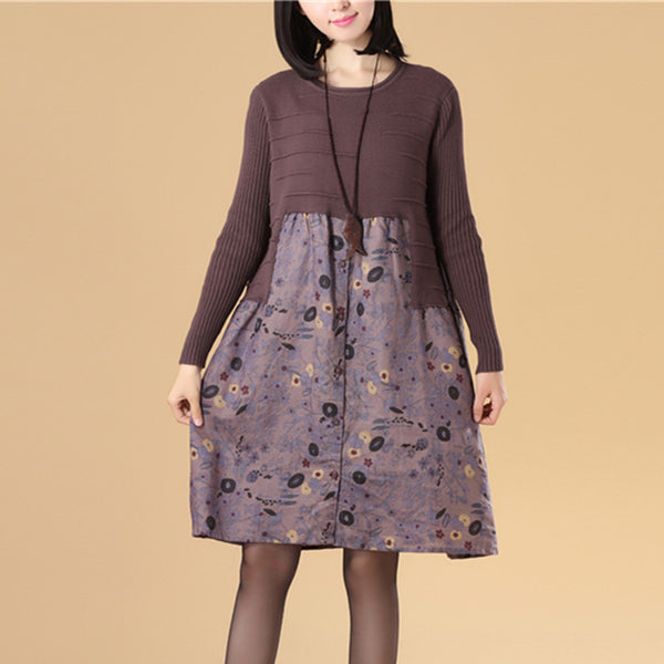 Graceful Women Autumn Patchwork Printing Purple Knitted Sweater Dress - Buykud