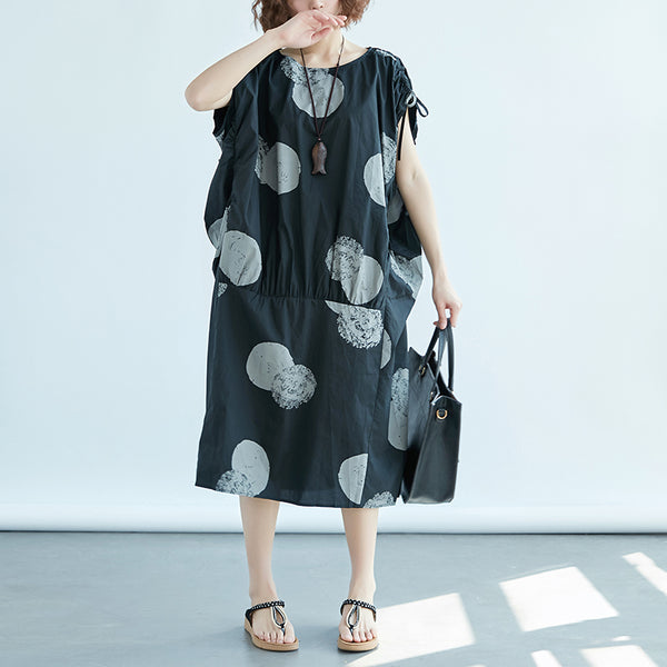 Women Loose Short Sleeve Black Printed Dress