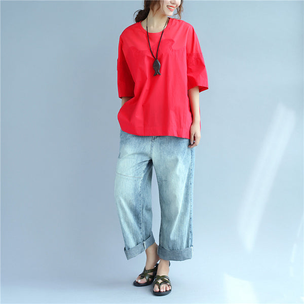 Splicing Summer Loose Cotton Women Casual Red Shirt - Buykud