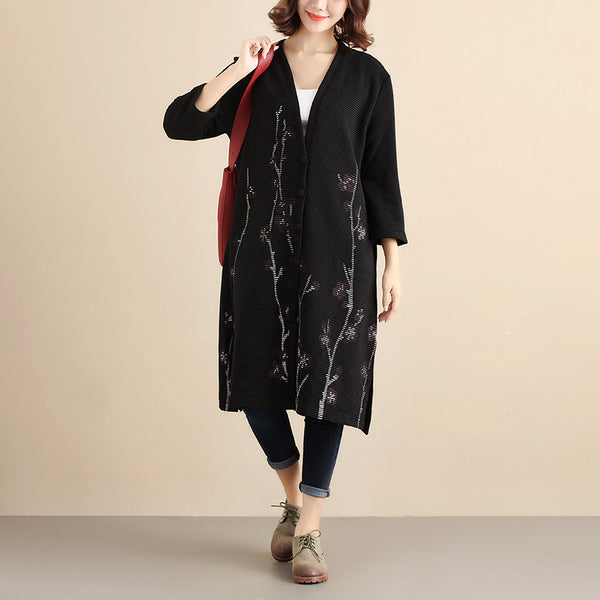 Women Cardigan Retro Three Quarter Sleeve Buttons Printing Coat - Buykud