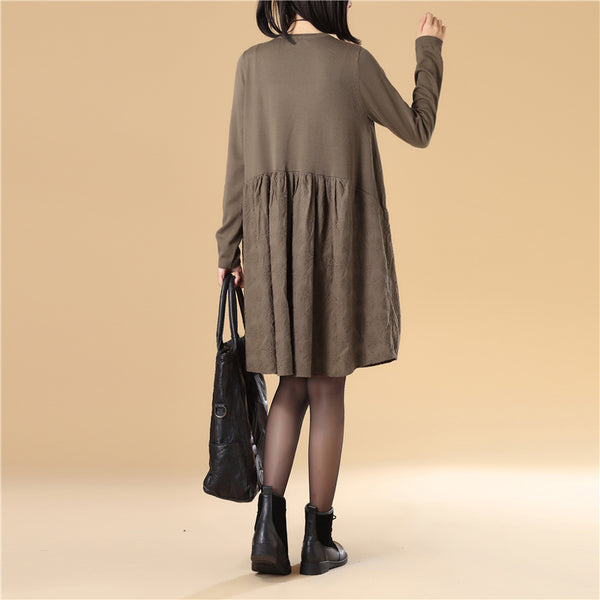 Embroidered Women Long Sleeve Folded Splicing Coffee Sweater Dress - Buykud