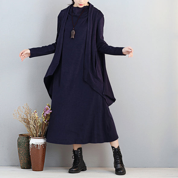 Separable Two Pieces Women Turtleneck Long Sleeve Navy Blue Blouse Dress - Buykud