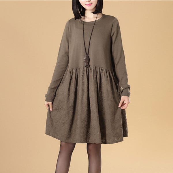 Delicate Embroidered Women Long Sleeve Folded Splicing Coffee Sweater Dress - Buykud