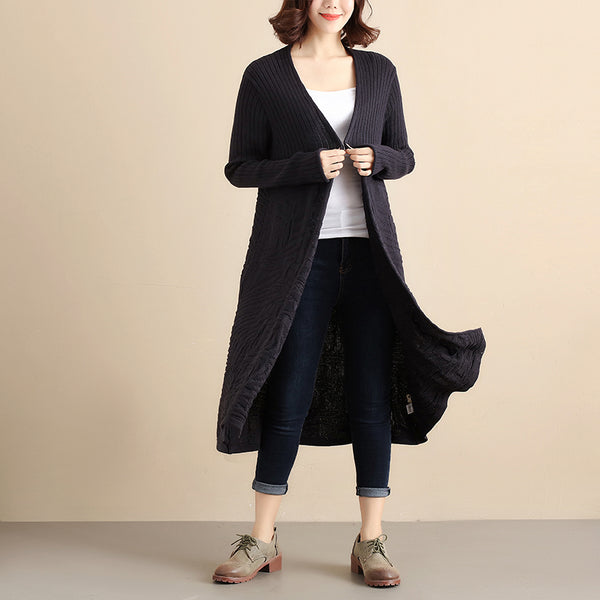 Women Autumn Simple Knitted Dark Blue Coat