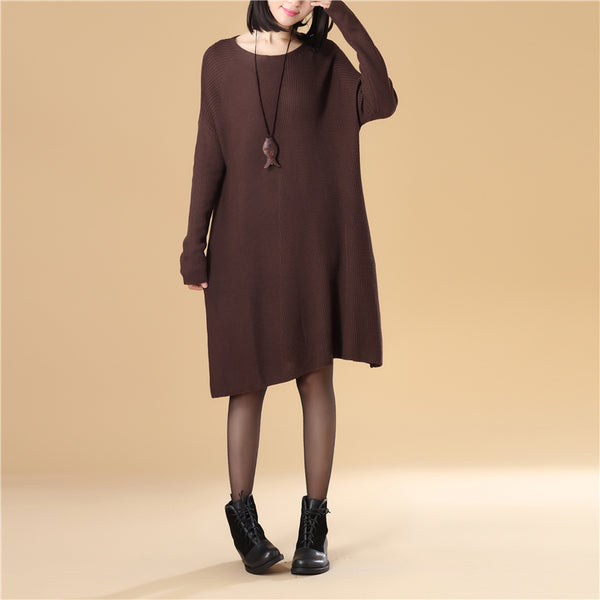 Autumn Women Round Neck Long Sleeve Knee Length Dark Coffee Knitted Sweater Dress - Buykud