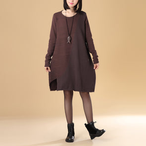 Women Round Neck Long Sleeve Coffee Sweater Dress - Buykud