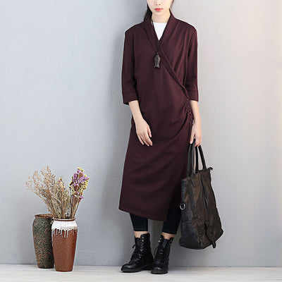 Women Three Quarter Sleeve Irregular Dark Wine Red Dress - Buykud