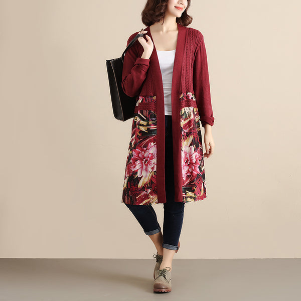 Retro Women Long Sleeve Patchwork Printing Cardigan Red Sweater