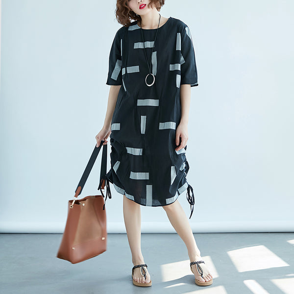 Women Black Printed Pleated 1/2 Sleeve Dress - Buykud