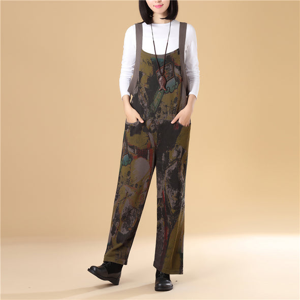Women Autumn Printing Knitted Sweater Jumpsuit - Buykud