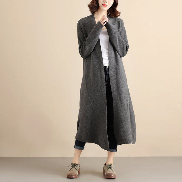 Women Autumn Simple Long Sleeve Knitted Dark Gray Coat