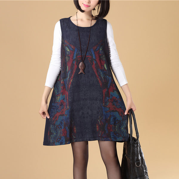 Autumn Women Round Neck Sleeveless Navy Blue Printing Sweater Dress - Buykud
