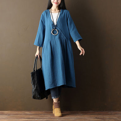 Cotton Women V Neck Casual Frog Blue Dress - Buykud
