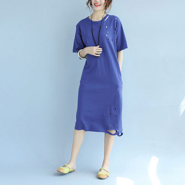 Hollowed Women Loose Casual Linen Summer Plain Blue Dress - Buykud
