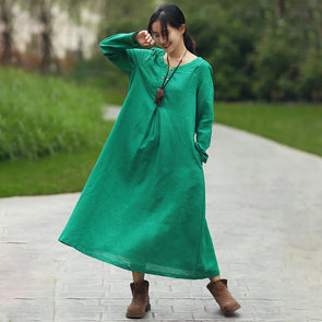 Women Casual Round Neck Long Sleeve Green Long Dress - Buykud