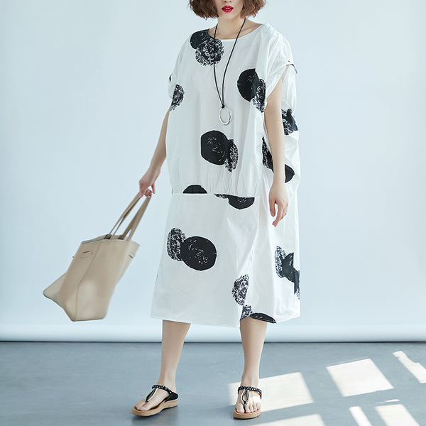 Women Boat Neck Short Sleeve White Printed Dress - Buykud