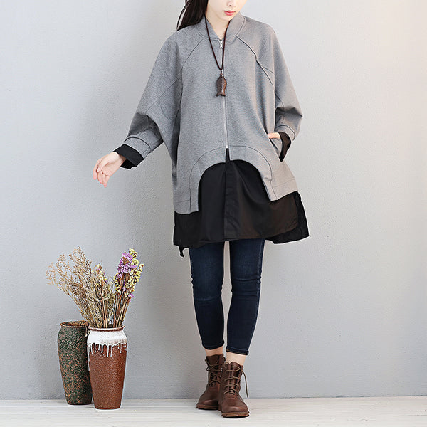 Women Stand Collar Zipper Shoulder Sleeve Patchwork Gray Shirt - Buykud