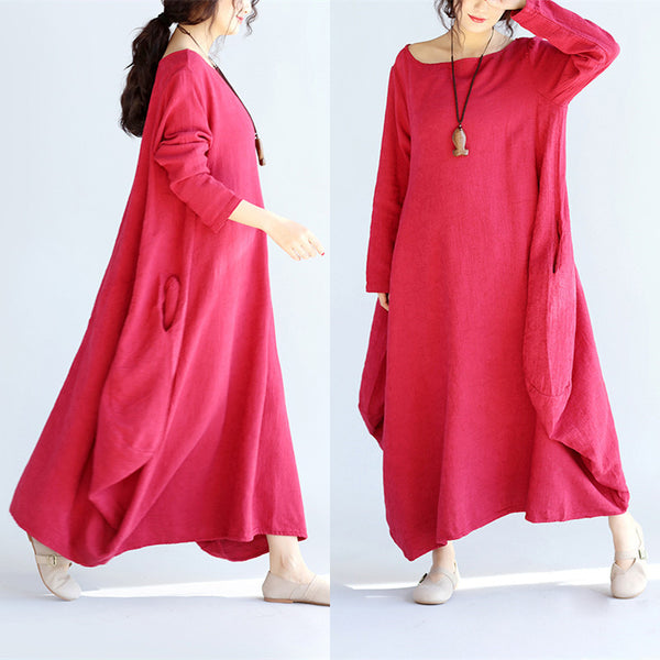 Women Linen Loose Wine Red Maxi Dress