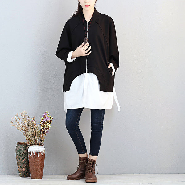 Women Stand Collar Zipper Shoulder Sleeve Patchwork Black Shirt - Buykud