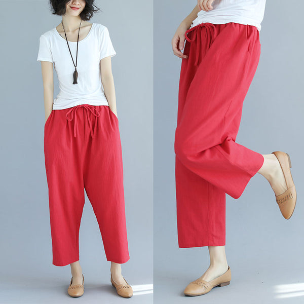 Spring Summer Casual Women Lacing Red Cotton Pants - Buykud