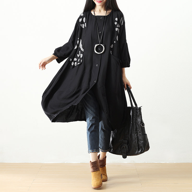 Single Breasted Three Quarter Sleeve Printing Pockets Black Dress - Buykud