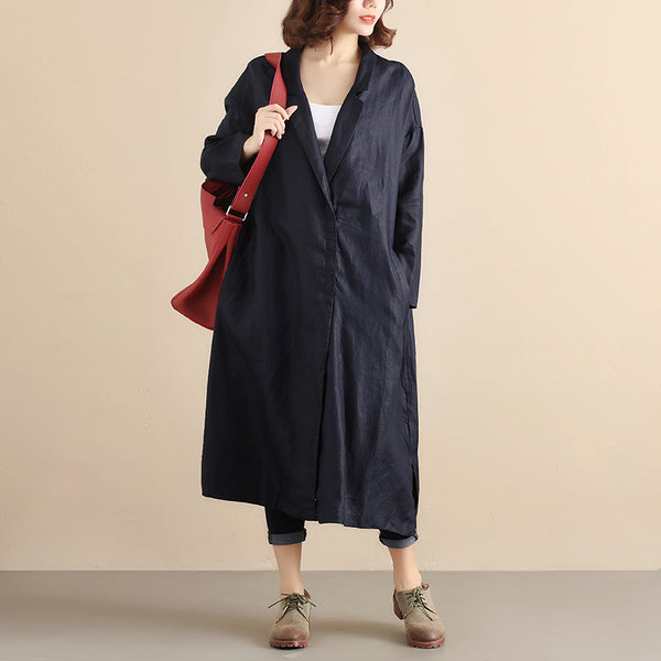 Printing Loose Autumn Women Navy Blue Coat - Buykud